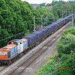 14 Juni 2013: Heerlen/ 203 163 NBE-Locon met vuiltrein uit haanrade opweg naar maastricht.