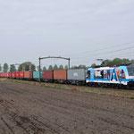 10 April 2014: Helmond Brandevoort/ 186 110 RTB met volledig beladen Blerick-shuttle 51402 naar Blerick.