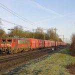 21 Januari 2018: Hedel / 1614 DBC Met kalk-staal trein richting Sittard.