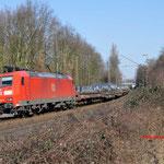 27 Februai 2016: Bottrop-Boy / 185 146 Met een staaltrein richting Krefeld