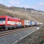 16 Maart 2016: Karlstadt / 223 032 EVB Met een containertrein richting Gemunden am main