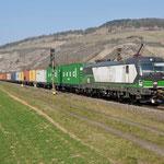 17 Maart 2016: Thungersheim / 193 218 SETG Met containertrein richting Wurzburg.