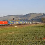 17 Maart 2016: Himmelstadt / 185 054 DB Met een LWK Waltertrein richting Wurzburg