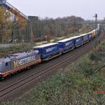 Bottrop-Boy: 241.010 HR Met een container-hupac trein richting Gelsenkirchen.