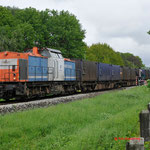 15 Mei 2012: Landgraaf/ 203 163 Locon-NBE met huisvuiltrein naar maastricht.