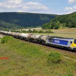17 Juli 2014 : Harrbach / 1264 003-5 Stock met keteltrein richting Wurzburg.