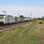 16 Juli 2014: Wiesental / 486 509 BLS Met container/hupac trein richting Karlsruhe