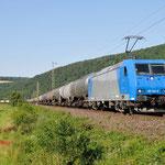 17 Juli 2014 : Wernfeld / 185 523 HGK Met keteltrein richting Gemunden am Main.