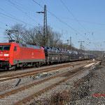 12 Maart 2015: Duisburg-Hochfeld / 152 072 Met een Gefco autotrein met Citroens en peugeot onderweg richting Duisburg Hochfeld Sud