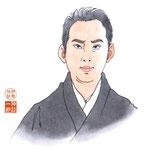 歌舞伎 役者 水彩画 挿絵 市川猿之助 亀治郎 似顔絵