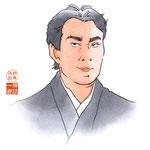 歌舞伎 役者 水彩画 挿絵 松本幸四郎 似顔絵
