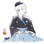 歌舞伎 役者 水彩画 挿絵 伽蘿先代萩 千松 子役 まんま