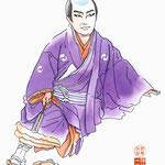 歌舞伎 役者 水彩画 仮名手本忠臣蔵 大星由良之助 大石内蔵助