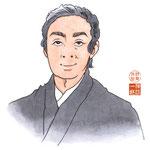 歌舞伎 役者 水彩画 挿絵 尾上菊五郎 似顔絵
