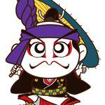 歌舞伎 イラスト キャラクター かわいい 2等身 助六 傘 ヒーロー