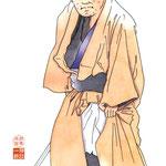 歌舞伎 役者 水彩画 挿絵 籠釣瓶花街酔醒 郎左衛門