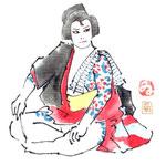 歌舞伎 役者 水彩画 挿絵 弁天小僧