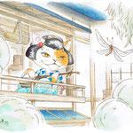 猫又芸者=夏 アクリル水彩 個人蔵 化け猫