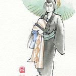 歌舞伎 役者 水彩画 挿絵