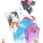 歌舞伎 役者 水彩画 挿絵 江戸 娘 役者絵