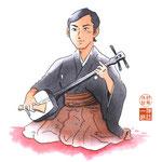 歌舞伎 役者 水彩画 挿絵 下座 三味線