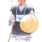 歌舞伎 役者 水彩画 挿絵 一谷嫩軍記 熊谷陣屋