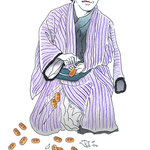 歌舞伎 役者 水彩画 挿絵 封印切 恋 飛脚大和往来