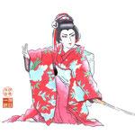 歌舞伎 役者 水彩画 挿絵  三人吉三 お嬢