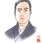 歌舞伎 役者 水彩画 挿絵 市川猿之助 似顔絵
