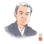 歌舞伎 役者 水彩画 挿絵 中村吉右衛門 似顔絵
