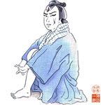 歌舞伎 役者 水彩画 挿絵 与話情浮名横櫛 与三郎 源氏店