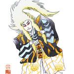 歌舞伎 役者 水彩画 挿絵 鏡獅子 毛振り