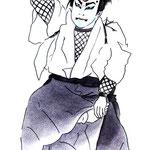歌舞伎 役者 水彩画 挿絵  先代萩 仁木弾正 伽蘿先代萩