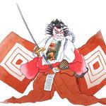 歌舞伎 役者 水彩画 挿絵 暫 歌舞伎十八番 鎌倉権五郎景政 花道 荒事