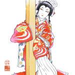 歌舞伎 役者 水彩画 挿絵 赤姫 八重姫 本朝廿四孝