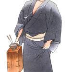 歌舞伎 役者 水彩画 挿絵  髪結新三 梅雨小袖昔八丈