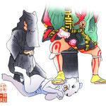 歌舞伎 役者 水彩画 挿絵 伽蘿先代萩 床下 黒子