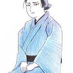 歌舞伎 役者 水彩画 挿絵 久松 お染久松