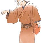 歌舞伎 役者 水彩画 挿絵 与話情浮名横櫛 源氏店 藤八 戯け