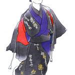 歌舞伎 役者 水彩画 挿絵 廓文章 色男 紙衣 吉田屋