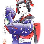 歌舞伎 役者 水彩画 挿絵 舞 踊り 娘 女方