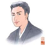 歌舞伎 役者 水彩画 挿絵 市川染五郎 似顔絵