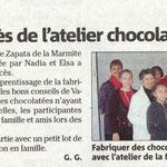 Atelier chocolat de Noël à la Médiathèque de Puget Ville