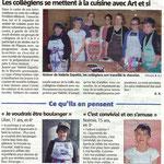 Article du 11 avril 2012 sur l'atelier de cuisine du collège