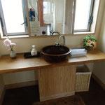 与十郎さんの手洗い。洗面鉢は、もちろん木製で、河和田塗でしょう。