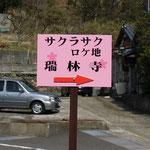 ロケ地案内順路看板です。かわいい桜色。