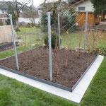 Beerenrabatte mit Stahlband und Betonplatten einfassen