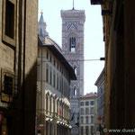 Florenz, erster Blick auf den Turm der Kathedrale