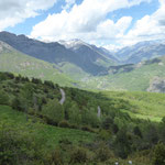 Verbindungsstrasse von Plan nach Chía  - Blick ins Ésera-Tal Richtung Benasque