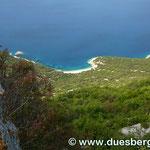 Blick von Luvenice auf einen der schönsten Strände auf Cres